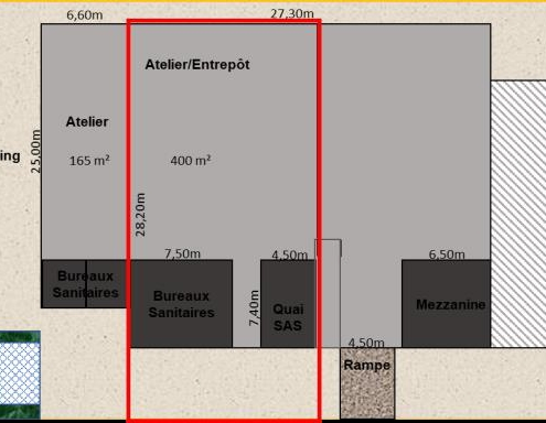 400 m² d'espaces atelier / entrepôt